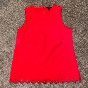 Red Sleeveless J Crew Top